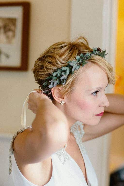 couronne verte cheveux courts mariage